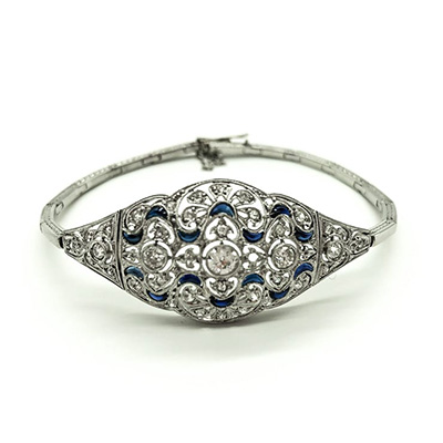 Art Deco Platinum bracelet set with Diamonds and Sapphires