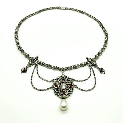 Edwardian Silver Filigree festoon necklace