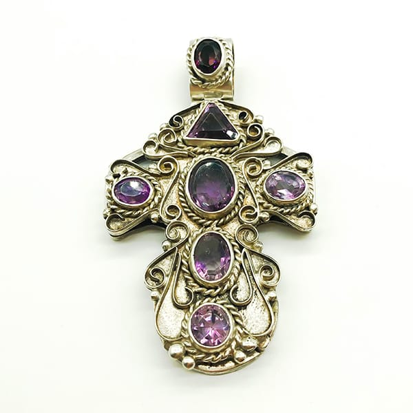 Large Mexican cross set with Amethysts