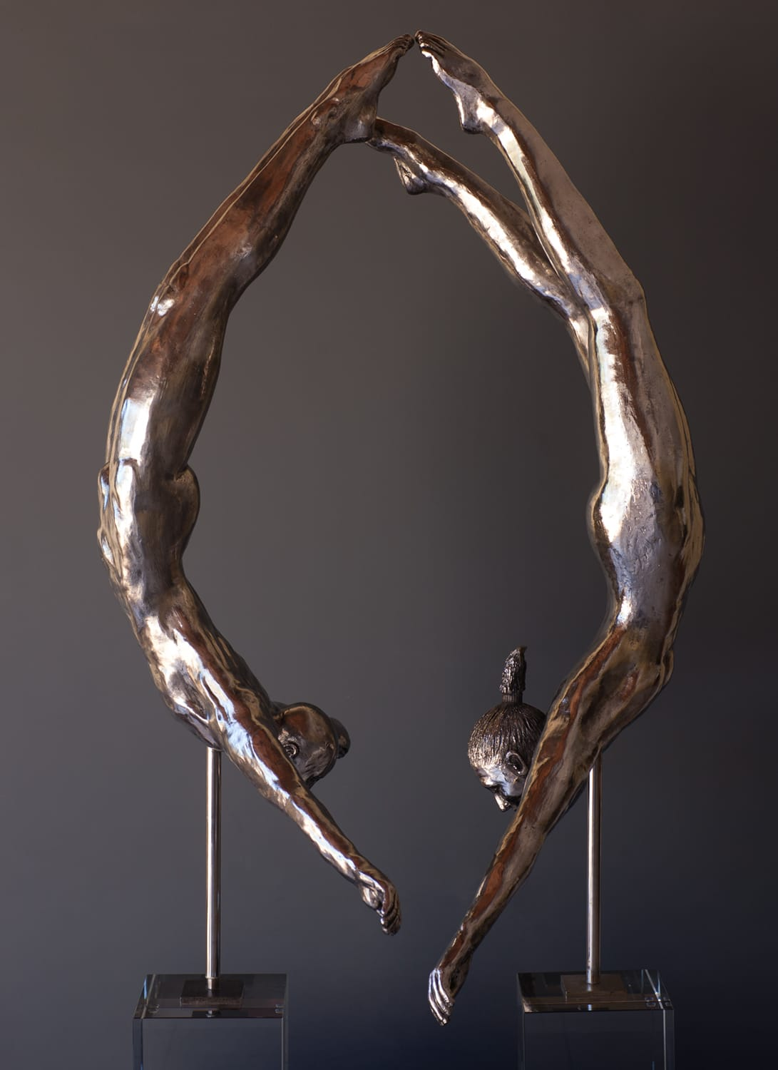 """Swan Divers"" - Male and Female Pair Bronze sculpture by Lydia and Antonio Da Silva"