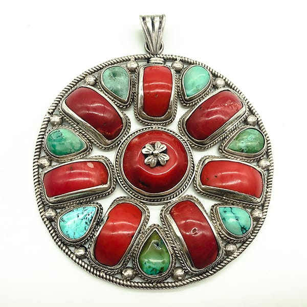 Very large Silver vintage disk pendant set with natural Coral and Turquoise