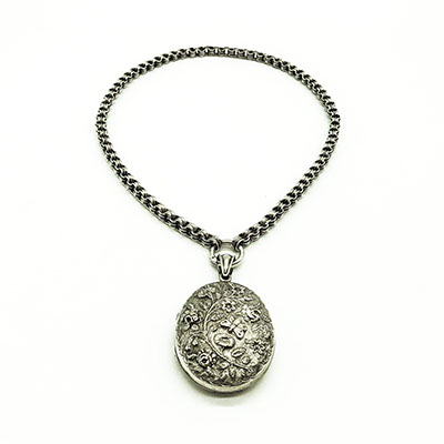 Victorian Silver choker with engraved oval locket