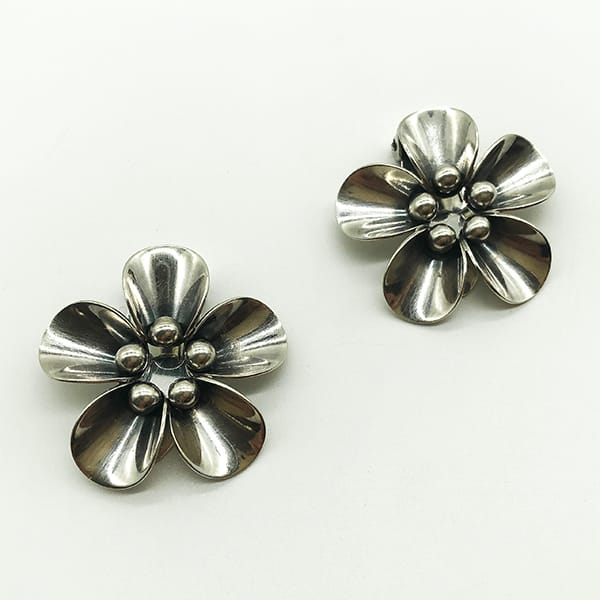 Vintage Silver clip on earrings NE From Denmark
